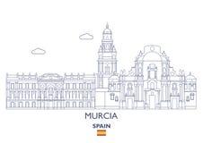 Murcia City Skyline, Spain. Murcia Linear City Skyline, Spain Royalty Free Stock Photography
