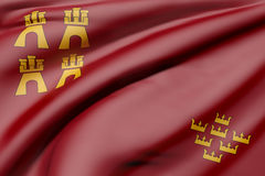 Murcia Community flag. 3d rendering of a Murcia Community flag waving Royalty Free Stock Images