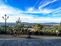Murcia, Hiszpania, Listopad 4, 2018: Ludzie chodzi na pelgrimage one potykają się wierzchołek góra zdjęcia royalty free