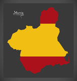 Murcia map with Spanish national flag illustration. In artwork style Royalty Free Stock Images
