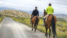 Murcia, Spagna, il 18 aprile 2019: Una retrovisione di due cavalli da equitazione degli uomini lungo una strada nella montagna fotografie stock libere da diritti