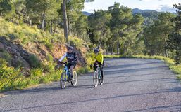 Murcia, Spain - April 9, 2019: Pro road cyclists enduring a difficult mountain ascent on his cool bicycle stock images