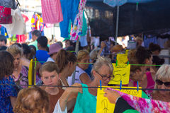 Murcia, Spain August 23, 2014: Market Street typical crowded sum Royalty Free Stock Photography