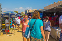 Murcia, Spain August 23, 2014: Market Street typical crowded sum Royalty Free Stock Photo