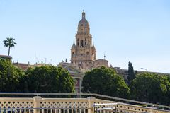 Bell tower of St. Mary`s Cathedral in Murcia, Spain Royalty Free Stock Image