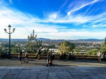 Murcia, Spain, November 4, 2018: People walking on a pelgrimage trip to the top of the mountain royalty free stock photos