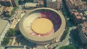 MURCIA, SPANJE - SEPTEMBER 24, 2018 Satellietbeeld van de arena van Murcia binnen cityscape stock videobeelden