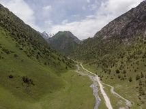 Murdash Village Alay Valley Kyrgyzstan Osh Region. A View of Alay Valley, Trans-alay Range, and Kyzyl-suu West River. Alay Moun royalty free stock photo