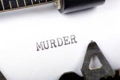 Murder. Typewriter close up shot, concept of murder stock photo