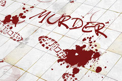 Murder. Written on a floor with blood Stock Images