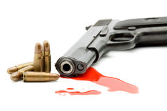 Murder concept - gun and blood Royalty Free Stock Image