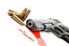 Murder concept - gun and blood Royalty Free Stock Photos
