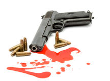 Murder concept - gun and blood. Studio isolated Stock Photos