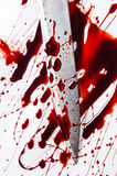 Murder concept - knife with blood on white background Stock Photo