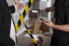 Murder or crime scene. Barricaded by tape royalty free stock photo