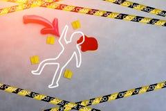 Murder crime scene concept. Murder crime scene concept on grey floor stock image
