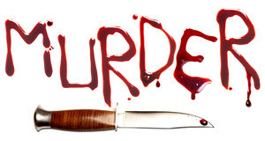 Murder and dagger. Bloody letters and sharp dagger as a symbol of murder and crime royalty free stock photos