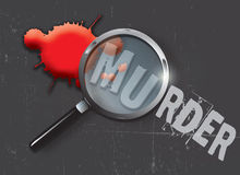 Murder Evidence. A landscape format illustration of blood spatters on a slate grey grunge style background, with a magnifying glass highlighting the word murder Stock Images