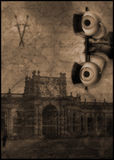 Murder eye ghost castle. Murder mystery and ghost image. dolls eyes and manor house or castle with letter and writting in the background stock illustration
