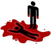 Murder. Illustration of a red handed person standing over a dead body Royalty Free Stock Photos