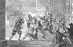 Murder of Montezuma. Hernando Cortez repays trust with treachery; the emperor Montezuma is murdered. From an engraving in Hernando Cortez by Jacob Abbott, 1901 Royalty Free Stock Image