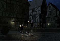 Murder Most Foul. In the moonlit streets of the city, the Nightwatch happens upon a body Stock Images