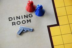 Murder mystery board game background. Murder mystery boardgame background with pistol gun and people in a dining room setting stock images