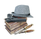 Murder Mystery Books Gun Knives Hat Stock Photos