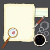 Murder Mystery Detectives Desk With Steaming Coffe Stock Photography