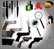 Murder mystery elements. A collection of murder mystery / whodunit elements stock illustration