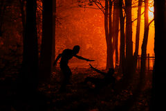 Murder in the park. Maniac kills his victim in the night deserted park. Silhouettes in night foggy forest stock images