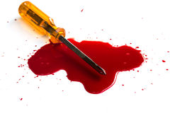 Murder. Red blood on white. Background stock photo