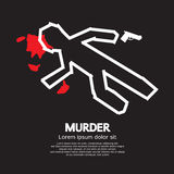 Murder. Silhouette of the dead man painted on the ground Vector Illustration Stock Images