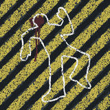 Murder Silhouette on yellow hazard lines. Stock Photography