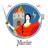 The murder sin. Illustration with a woman on the theme of murder Royalty Free Stock Image