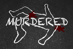 Murdered Killed Dead Body Chalk Outline Victim Stock Photos