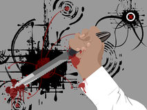 Murderer. Illustration of murderers hand holding blood covered knife and contemporary grunge style background Royalty Free Stock Photography