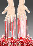 Murderer. Bloody male hands. Blood leaking from fingers. Hand drawn illustration digitally colored Royalty Free Stock Image