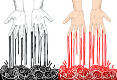 Murderer. Bloody male hands. Blood leaking from fingers. Hand drawn illustration digitally colored. On the left side black and white drawing. On the right side Royalty Free Stock Images