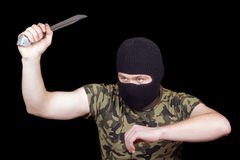 The murderer with a knife Stock Photos