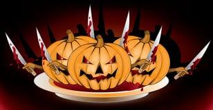 Murderer pumpkins. Halloween pumpkins with  knives illustration Stock Images