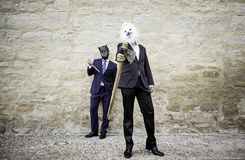 Murderers with masks. And weapons, fear and violence royalty free stock images
