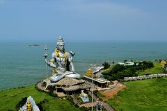 Om namha shivaya. Murdeshwar is a town in Bhatkal Taluk of Uttara Kannada district in the state of Karnataka, India. Murdeshwar is another name of the Hindu god Stock Image