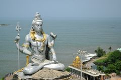 Om namha shivaya. Murdeshwar is a town in Bhatkal Taluk of Uttara Kannada district in the state of Karnataka, India. Murdeshwar is another name of the Hindu god Stock Photo