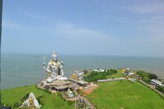 Om namha shivaya. Murdeshwar is a town in Bhatkal Taluk of Uttara Kannada district in the state of Karnataka, India. Murdeshwar is another name of the Hindu god Royalty Free Stock Photo