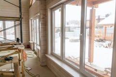Mure a decoração interior da casa no canteiro de obras com espaço da cópia foto de stock royalty free