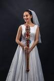 Murederer serial en vestido de boda fotografía de archivo libre de regalías
