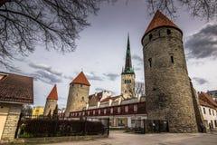 Muren en kathedraal van Tallinn, Estland Royalty-vrije Stock Foto's