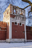 Muren en torens van de Russische winter van Moskou van het vestingsklooster Stock Foto's