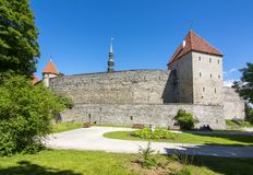 Muren en torens van oud Tallinn, Estland Royalty-vrije Stock Afbeelding
